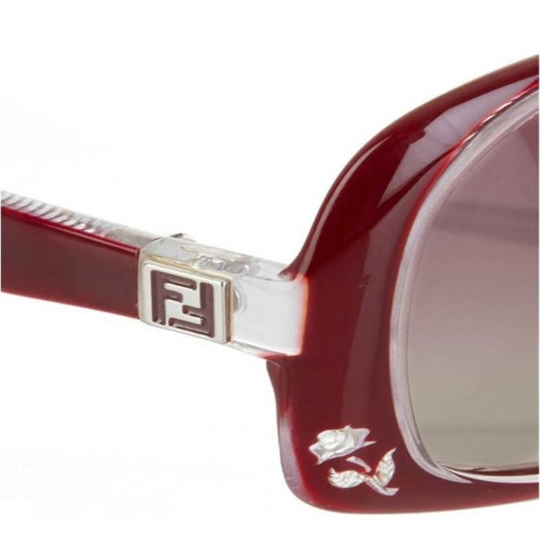New Fendi Deep Red Rose Inlaid Sunglasses With Case For Sale 6