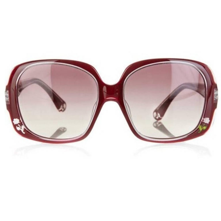 New Fendi Deep Red Rose Inlaid Sunglasses With Case For Sale 8