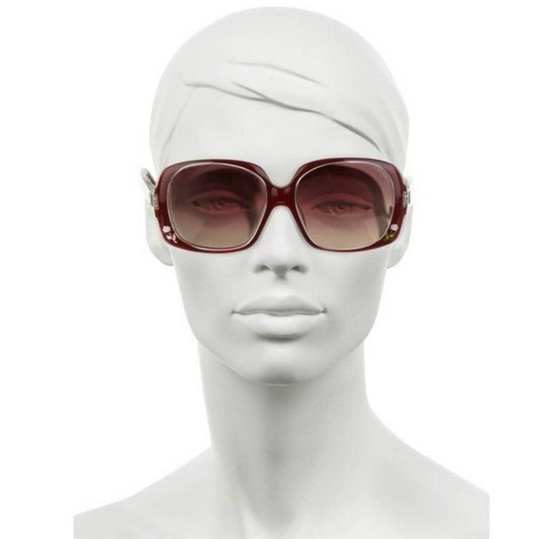 New Fendi Deep Red Rose Inlaid Sunglasses With Case For Sale 9