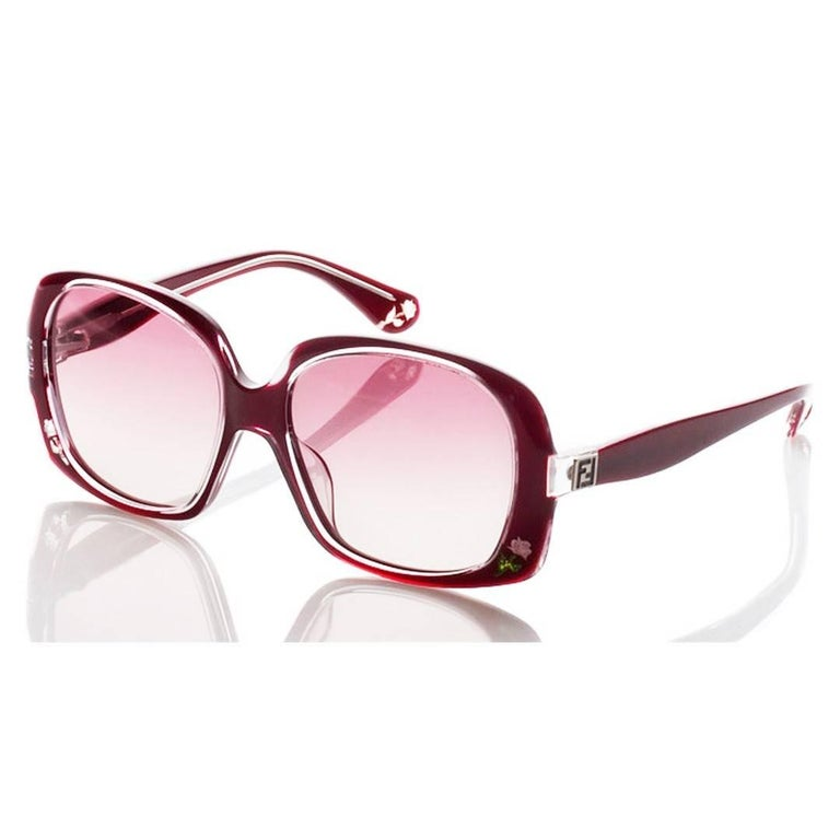 New Fendi Deep Red Rose Inlaid Sunglasses With Case For Sale 10