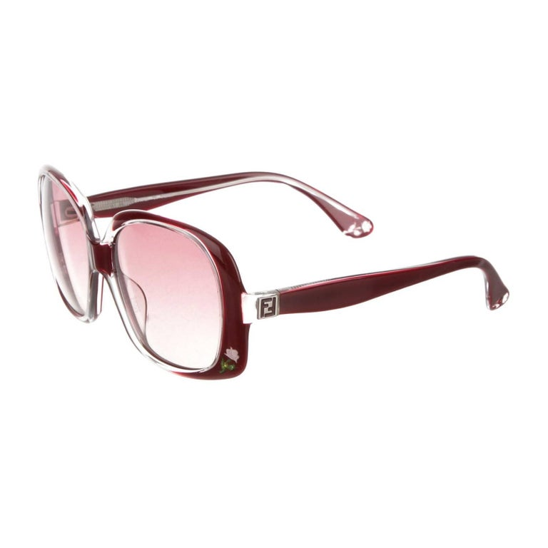 New Fendi Deep Red Rose Inlaid Sunglasses With Case For Sale 12