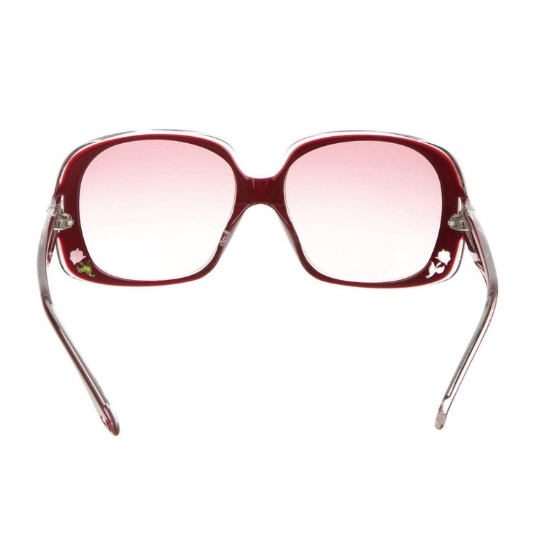 New Fendi Deep Red Rose Inlaid Sunglasses With Case For Sale 13