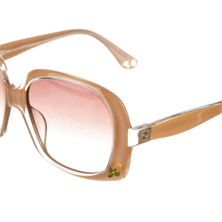 New Fendi Beige Rose Inlaid Sunglasses With Case For Sale 4