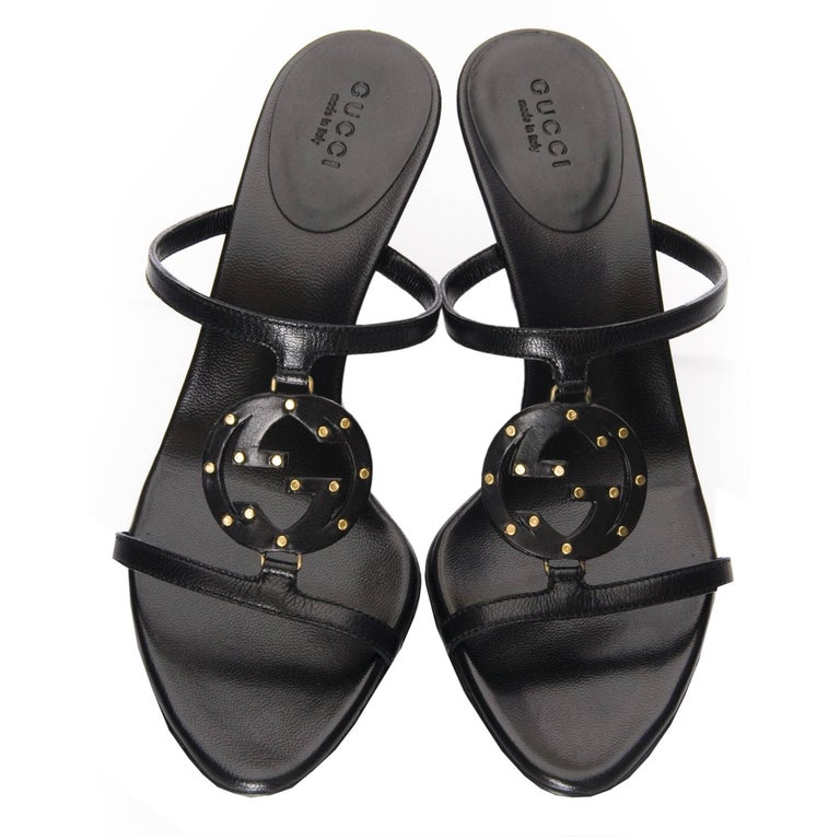 Black New Gucci Leather Studded Logo Heels Sz 6.5 For Sale