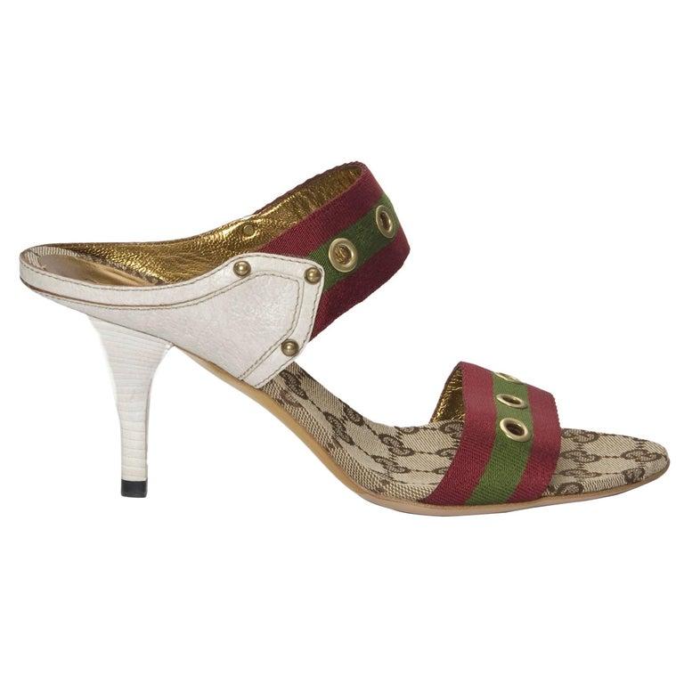 Gucci GG Logo Web Mules Heels