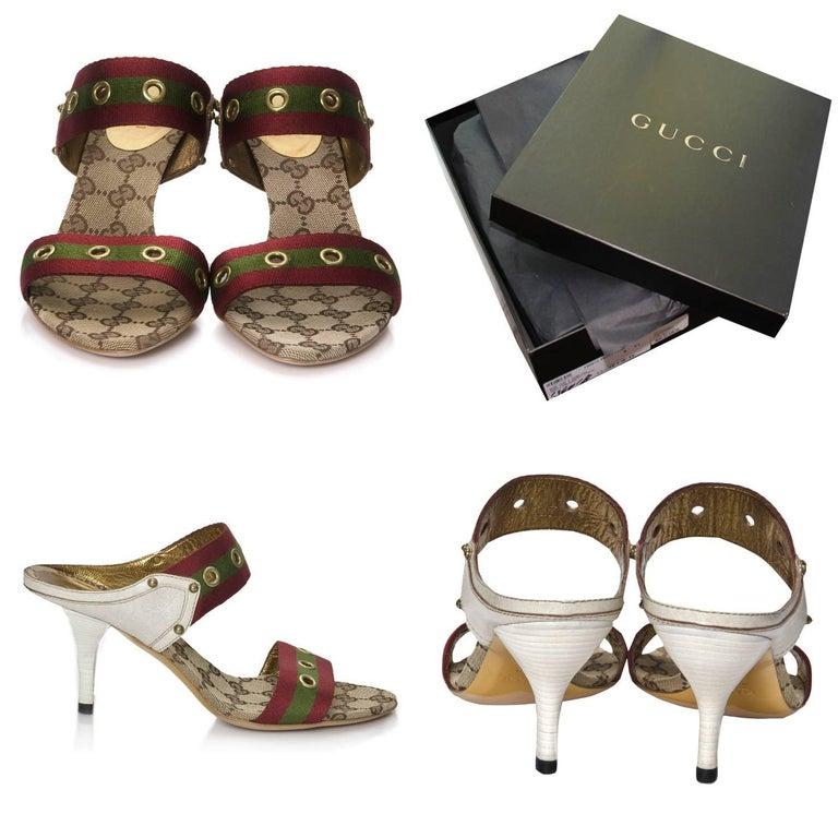 Beige New Gucci GG Logo Web Mules Heels Sz 37 For Sale