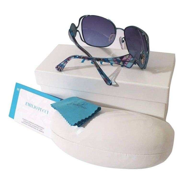 New Emilio Pucci Teal Blue Aviator Sunglasses With  Case