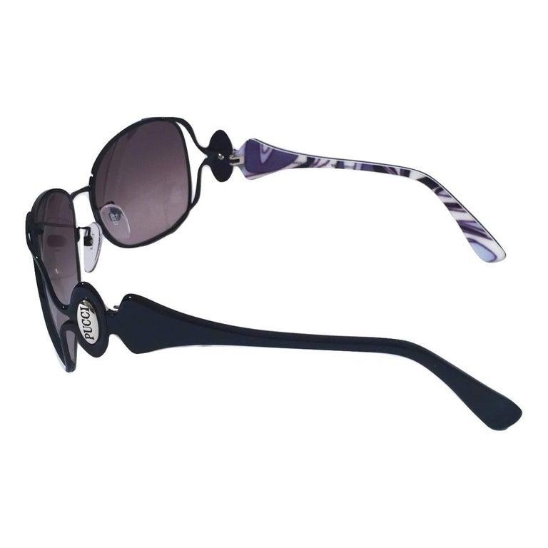 New Emilio Pucci Black Aviator Sunglasses With Case & Box For Sale 1