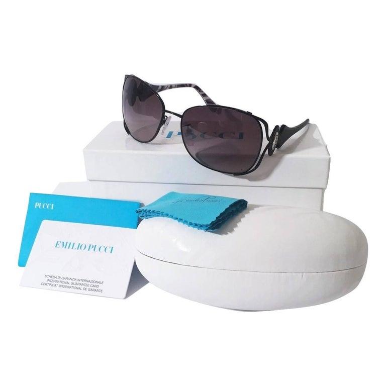 New Emilio Pucci Black Aviator Sunglasses With Case & Box For Sale 2