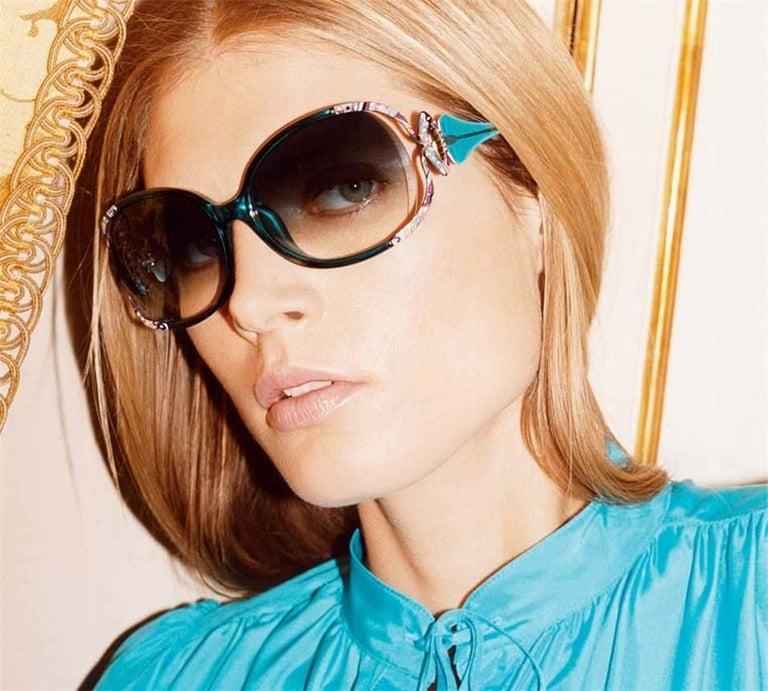 New Emilio Pucci Black Aviator Sunglasses With Case & Box For Sale 3