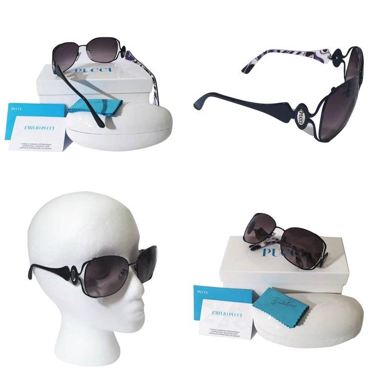 New Emilio Pucci Black Aviator Sunglasses With Case & Box For Sale 4