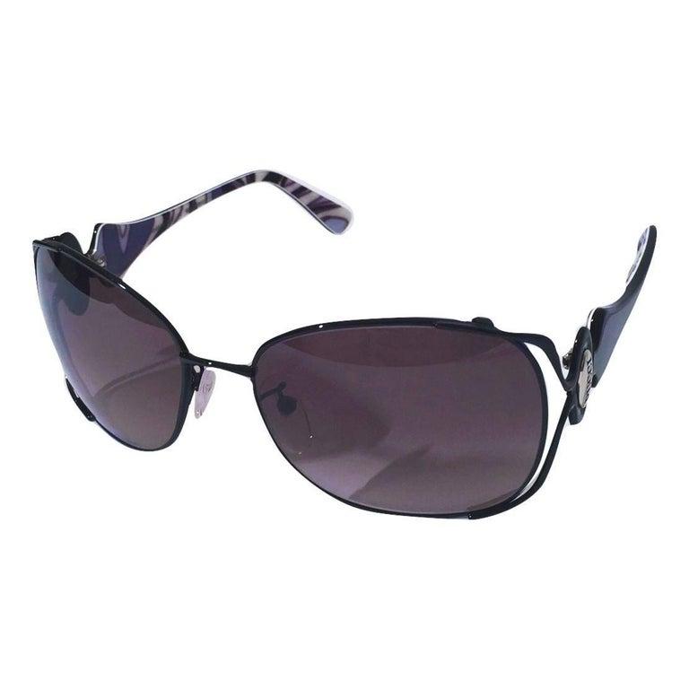 Women's New Emilio Pucci Black Aviator Sunglasses With Case & Box For Sale
