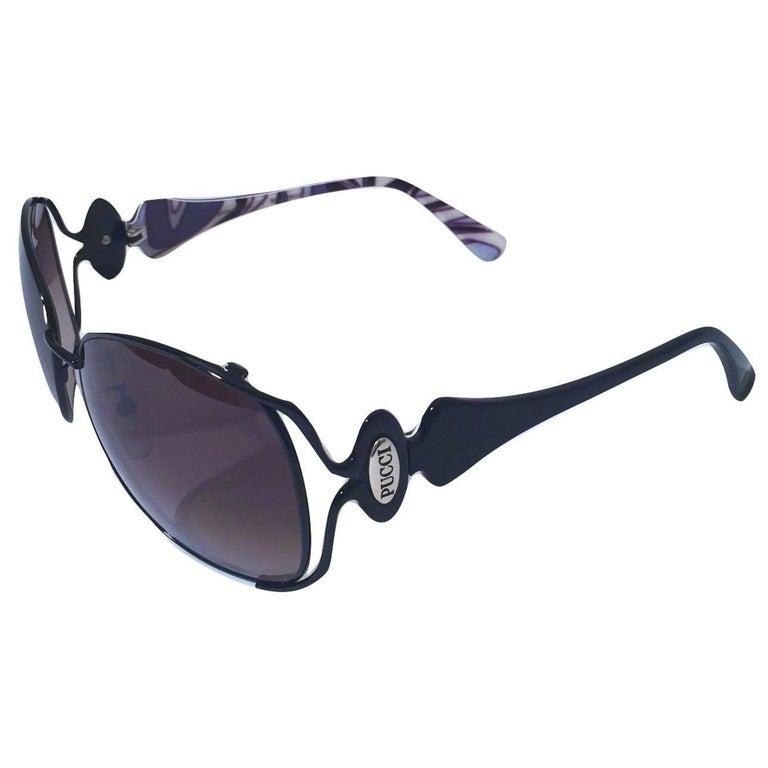 New Emilio Pucci Black Aviator Sunglasses With Case & Box For Sale 8