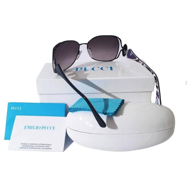Emilio Pucci New Black Aviator Sunglasses