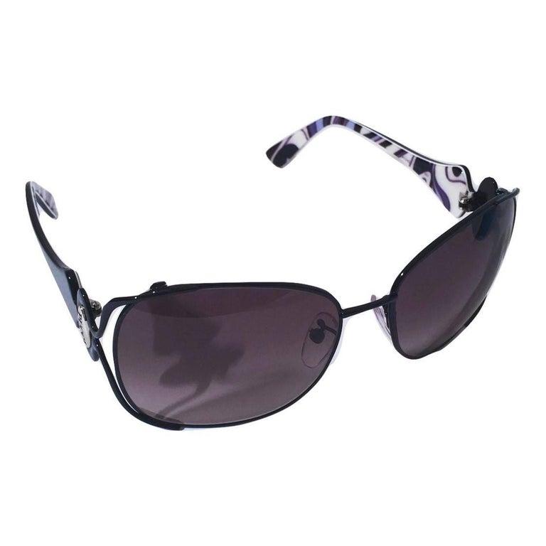 New Emilio Pucci Black Aviator Sunglasses With Case & Box For Sale 9