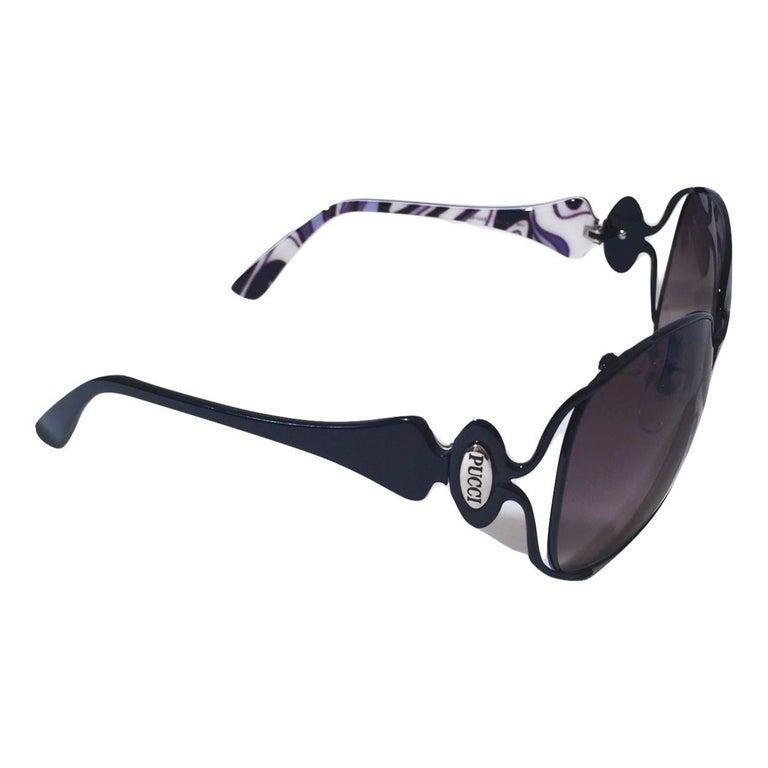 New Emilio Pucci Black Aviator Sunglasses With Case & Box For Sale 10