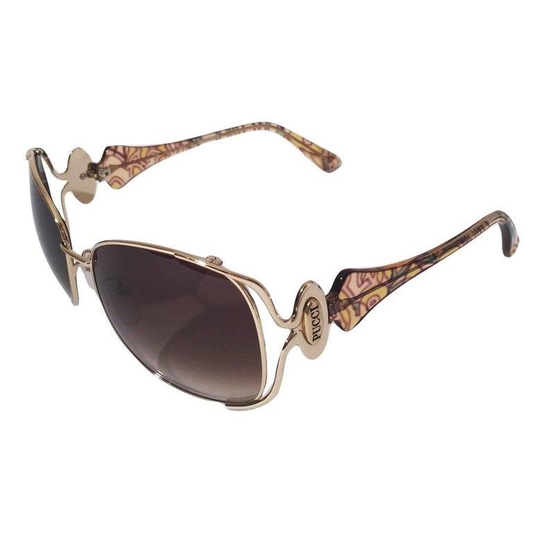Gray New Emilio Pucci Gold Aviator Sunglasses  With Case & Box For Sale