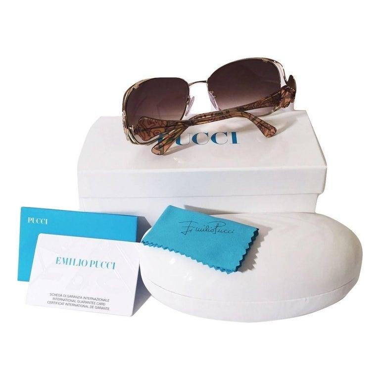 Women's New Emilio Pucci Gold Aviator Sunglasses  With Case & Box For Sale
