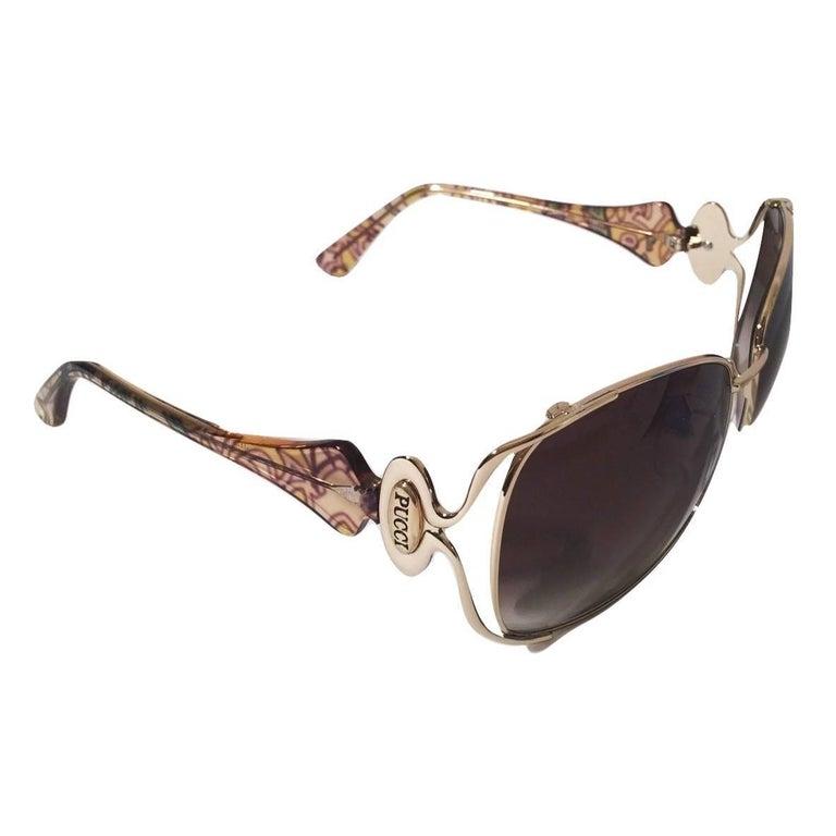 New Emilio Pucci Gold Aviator Sunglasses  With Case & Box For Sale 1