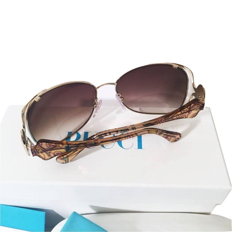 New Emilio Pucci Gold Aviator Sunglasses  With Case & Box For Sale 3