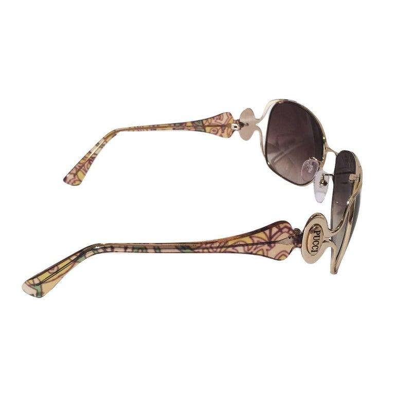 New Emilio Pucci Gold Aviator Sunglasses  With Case & Box For Sale 4