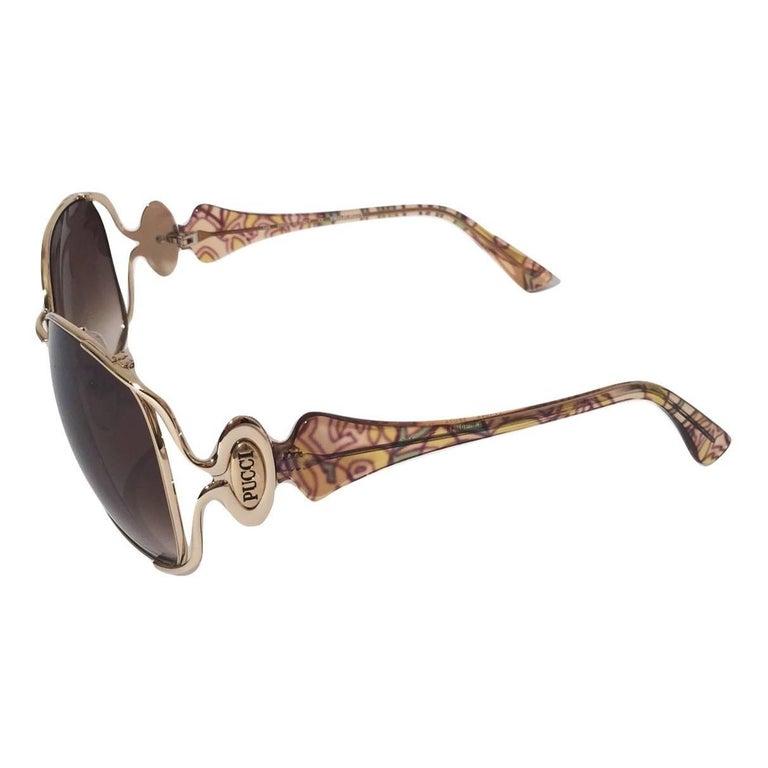 New Emilio Pucci Gold Aviator Sunglasses  With Case & Box For Sale 5