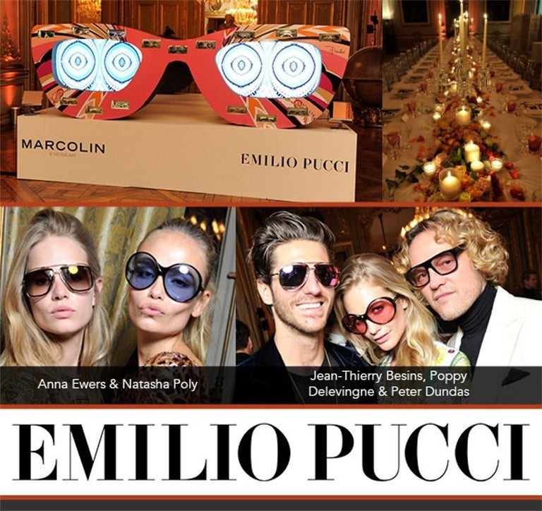 Emilio Pucci Sunglasses Brand New * Stunning Classic Pucci Sunglasses * Gold Aviator Frames * Pucci Print Sides: * Yellow and Blue * Gold Pucci Logo on Both Sides * Handmade ZYL in Italy * 100% UV Protection * Comes with Case, Cleaning Clothing,