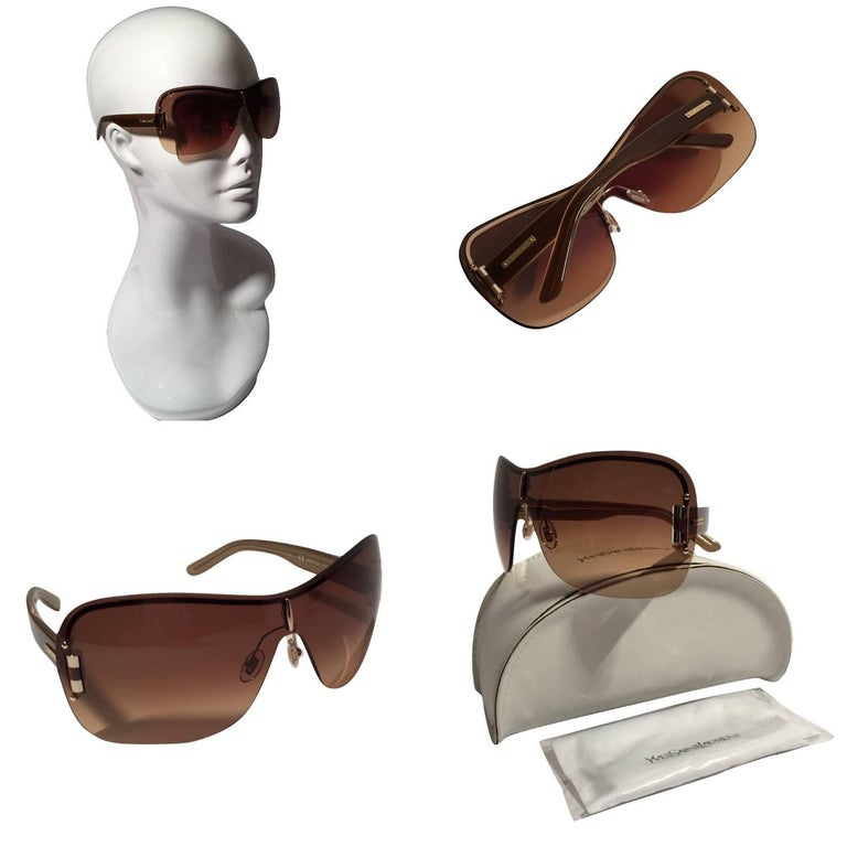 Brown New Yves Saint Laurent YSL Wrap Sunglasses With Case For Sale