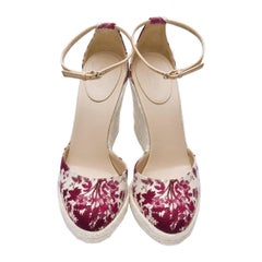 Gucci Cruise New 2007 Runway Flora Wedge Espadrille Heels