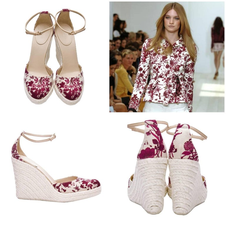 Gucci Cruise 2007 Wedges Size: 8.5 Brand New * Stunning Gucci Flora Wedges * Runway Cruise 2007 Line * Famous Flora Canvas Print * Red Wine & Cream *Woven Platform Heel * Leather Adjustable Ankle Strap * 1