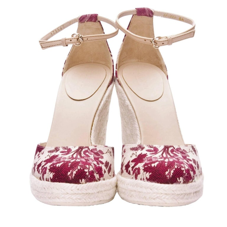 New Gucci Cruise New 2007 Runway Flora Wedge Espadrille Heels Sz 8.5 For Sale 1