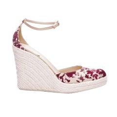New Size 8 Gucci Cruise 2007 Runway Flora Wedge Espadrille Heels
