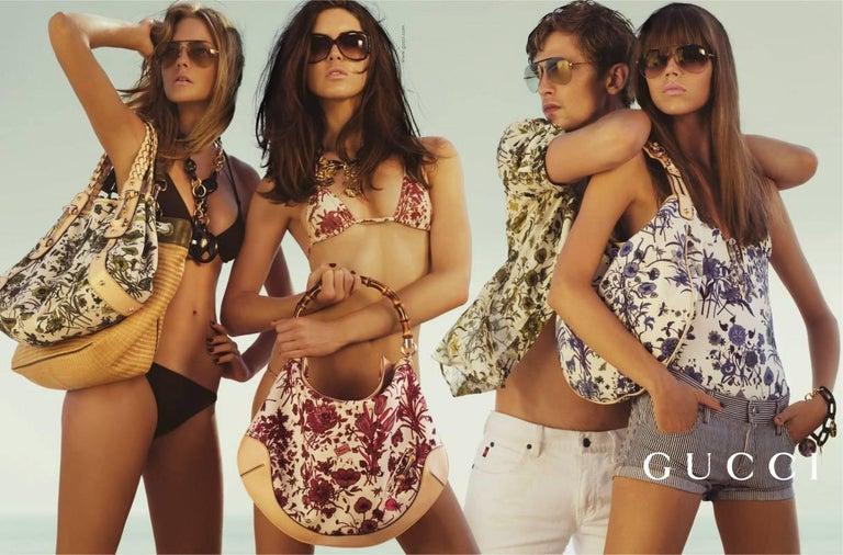Beige New Gucci Cruise 2007 Runway Flora Wedge Espadrille Heels Sz 8 For Sale