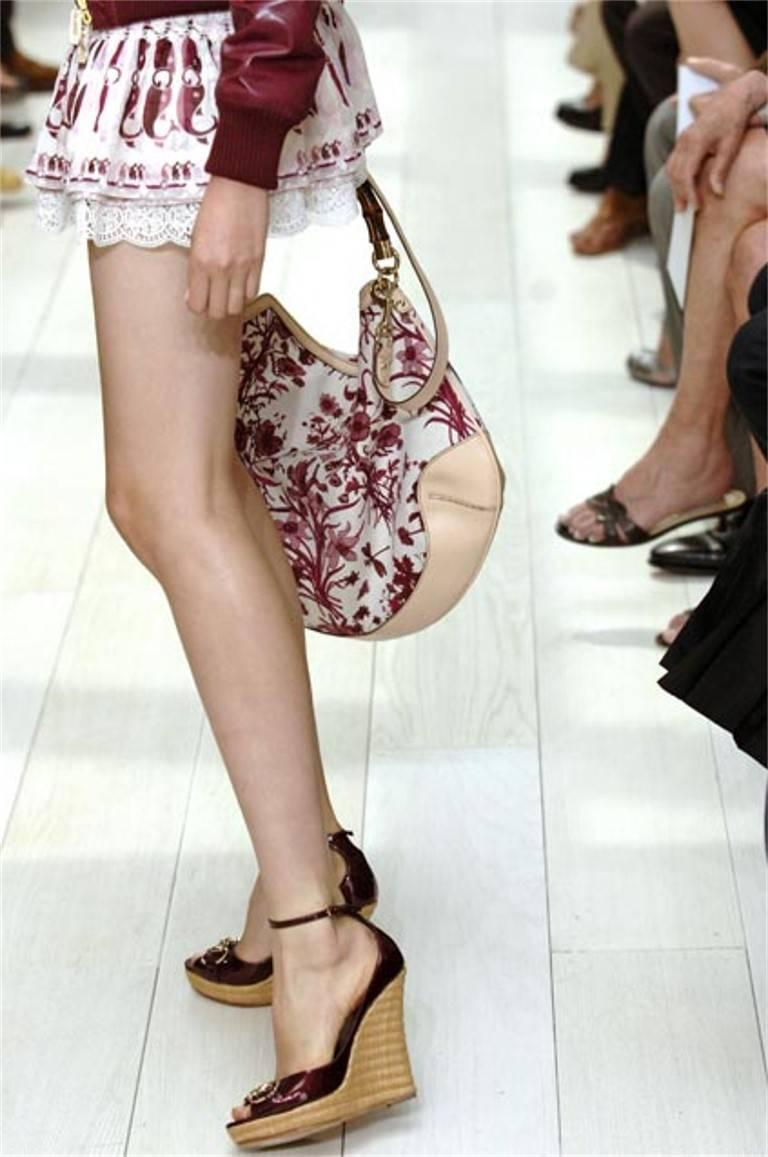 New Gucci Cruise 2007 Runway Flora Wedge Espadrille Heels Sz 8 For Sale 2