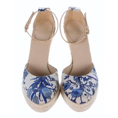 New Gucci Cruise 2007 Runway Flora Wedge Espadrille Heels Sz 7.5