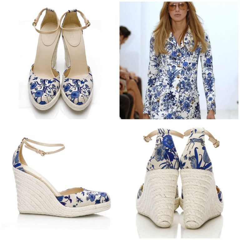 Gucci Cruise 2007 Wedges Size: 7.5 Brand New * Stunning Gucci Flora Wedges * Runway Cruise 2007 Line * Famous Flora Canvas Print * Blue & Cream *Woven Platform Heel * Leather Adjustable Ankle Strap * 1