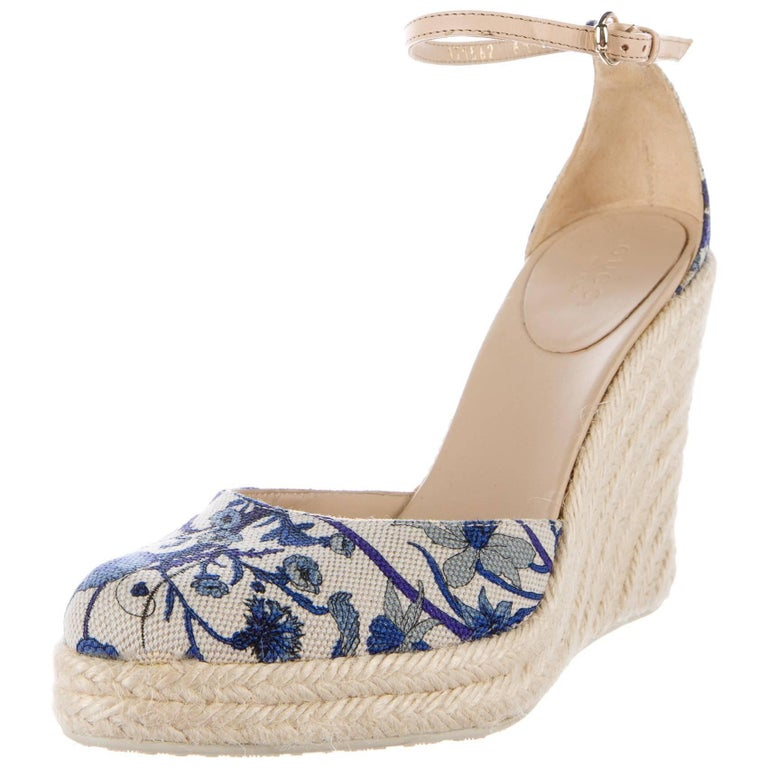 New Gucci Cruise 2007 Runway Flora Wedge Espadrille Heels Sz 7.5 For Sale 2
