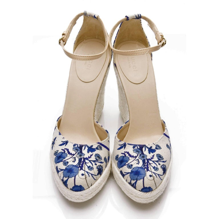 New Gucci Cruise 2007 Runway Flora Wedge Espadrille Heels Sz 7.5 For Sale 5