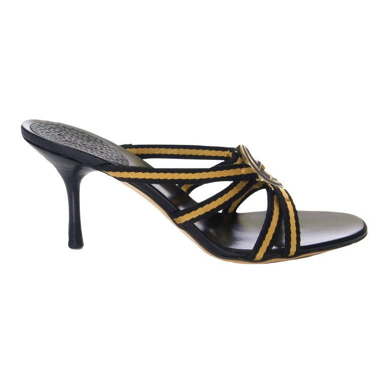 Tom Ford for Gucci GG Logo Heels Brand New * Stunning in Gold & Black * Gold & Black GG Logo Front  * Size: 7.5 * Yellow & Black Canvas Straps * Leather Insole  * 3.25