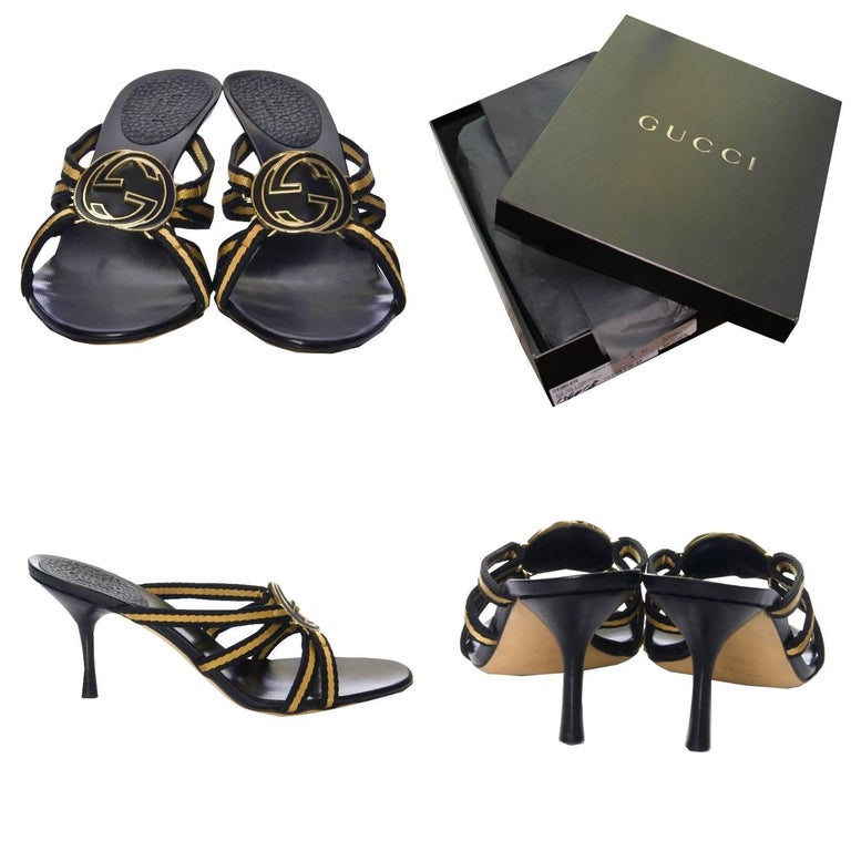 Black New Tom Ford for Gucci GG Logo Canvas Mules Heels Sz 7.5 For Sale