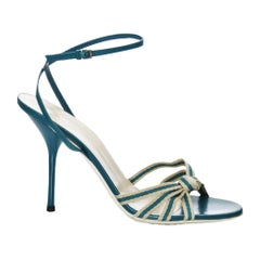 New Size 7.5 Gucci Mirabelle Teal Heels