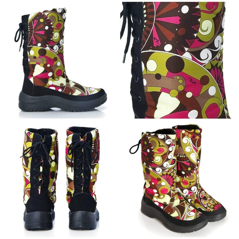 Emilio Pucci Snow Boots Brand New * Snow, Ski, Rain Boots * Euro: 38  * Waterproof Signature Pucci fabric in Fuchsia, Black, Burgundy and Greens * Thick Insulated Wool Interior * Rubber Soles * Nubuck Trim  * Laces up the Back * Without Box