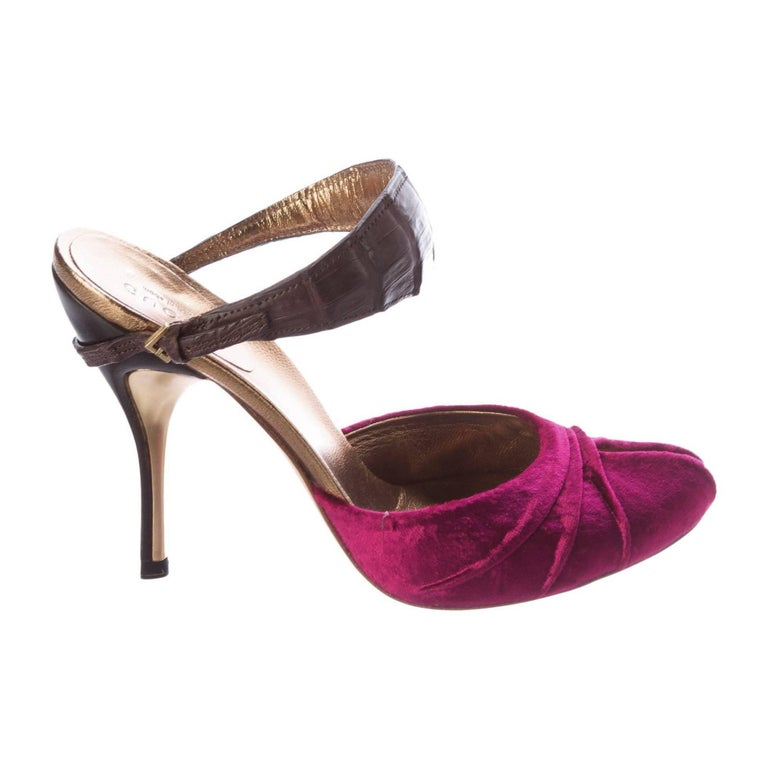 New Size 36 Gucci Velvet & Crocodile Heels Mules