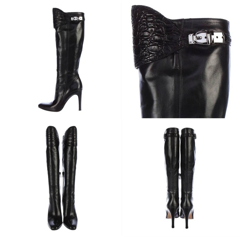 New Gucci Alligator and Leather Boots Rare Fall Winter 2005 Sz 6 For Sale 1
