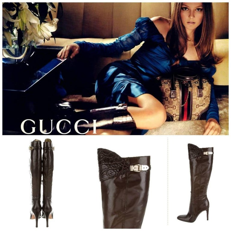 Brand New The Boots that every model wore for the fall/winter 2005 runway show * Gucci * U.S. Size: 6.5 * Soft Brown Leather * Alligator Uppers * Gold Buckle * 4.25