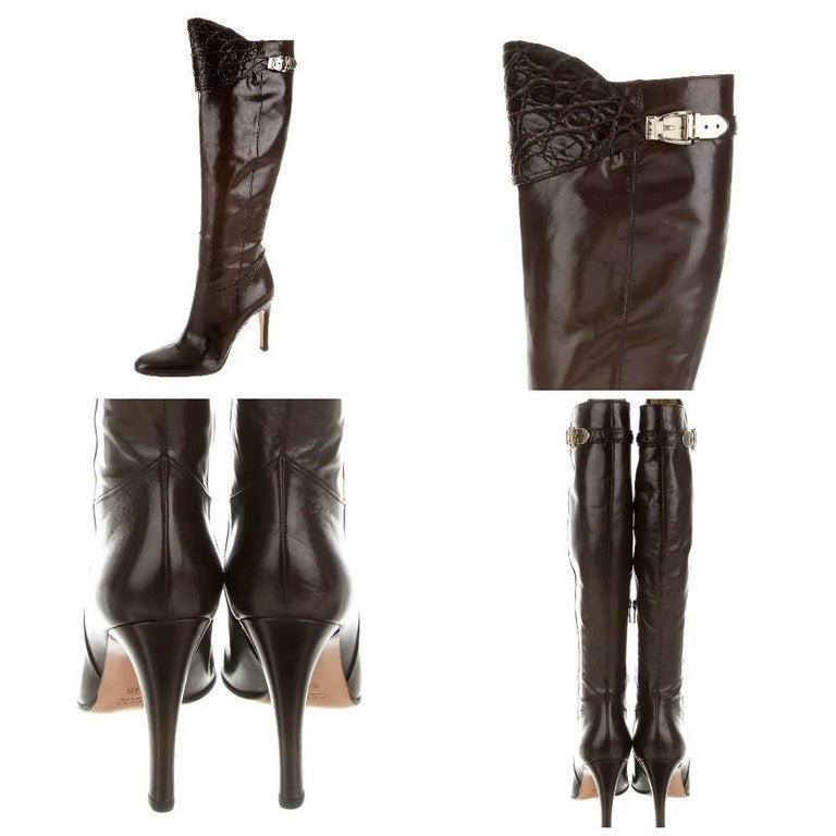 Women's New Gucci Alligator and Leather Boots Rare Fall Winter 2005 Sz 6.5 For Sale