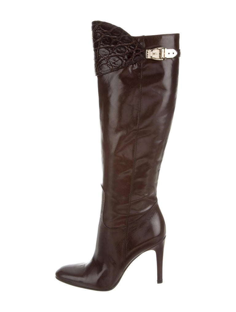 New Gucci Alligator and Leather Boots Rare Fall Winter 2005 Sz 6.5 For Sale 1