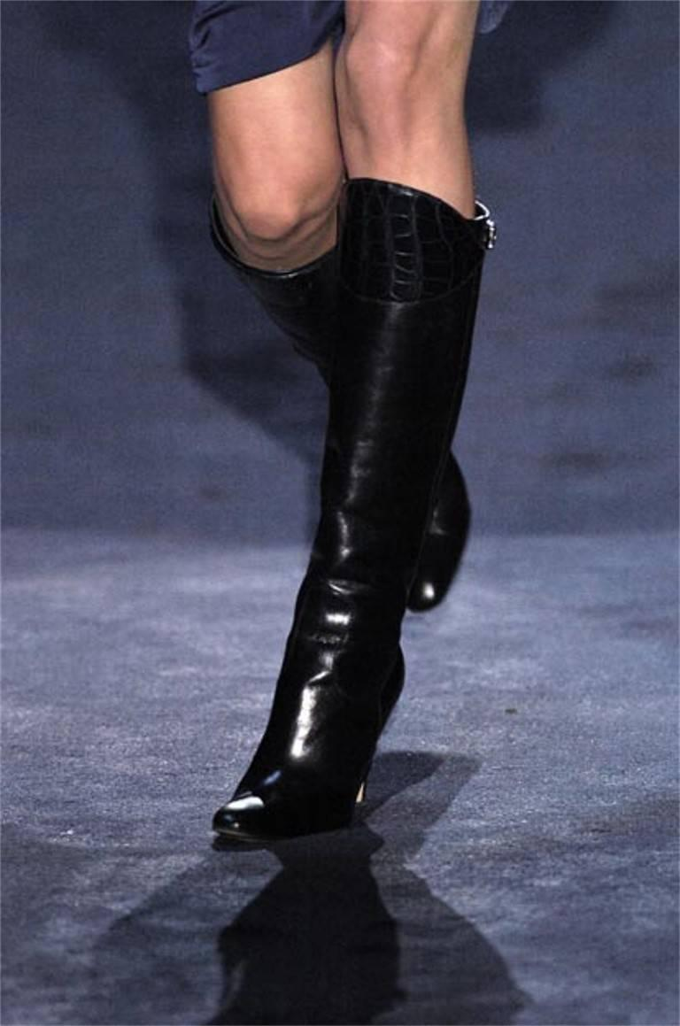 New Gucci Alligator and Leather Boots Rare Fall Winter 2005 Sz 6.5 For Sale 2