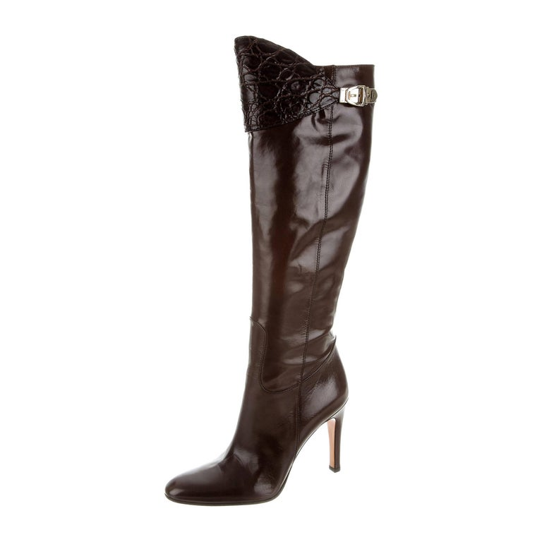New Gucci Alligator and Leather Boots Rare Fall Winter 2005 Sz 6.5 For Sale 3