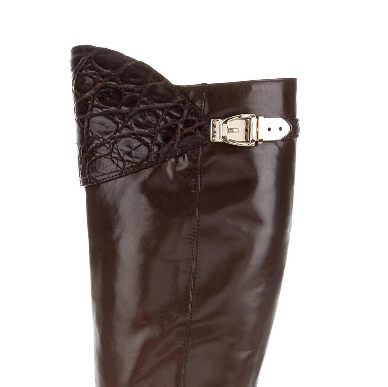 New Gucci Alligator and Leather Boots Rare Fall Winter 2005 Sz 6.5 For Sale 5